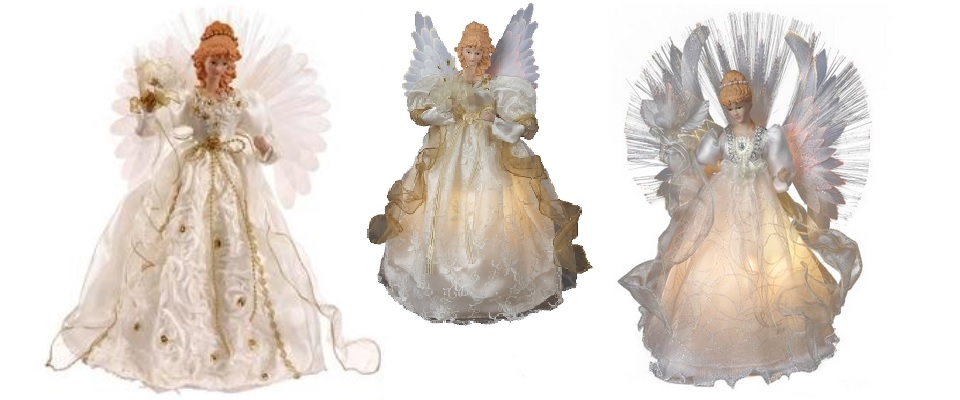 Lighted Fiber Optic Angel Tree Toppers Christmas Time Treasures