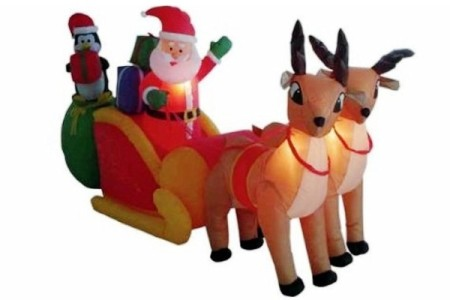 Christmas Outdoor Inflatable Santa and Sleigh Decoration