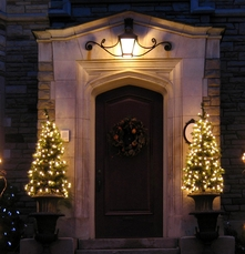 pre lit potted christmas trees at your front door - Front Door Entrance Christmas Decoration