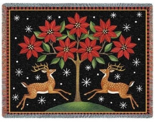 Red poinsettia tree throw