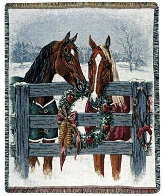 Christmas Horse throw