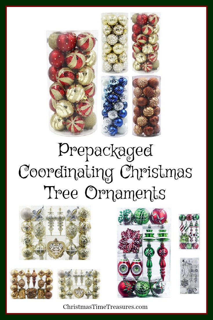 Prepackaged Coordinating Christmas Tree Ornaments